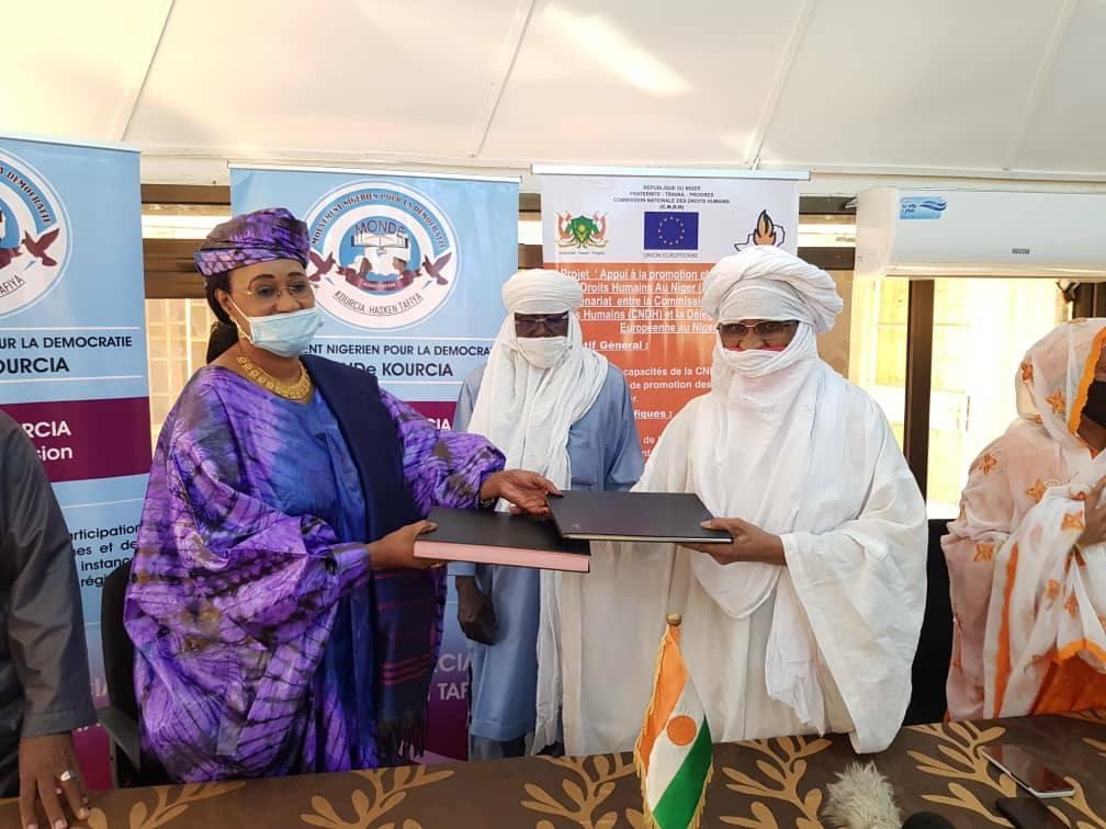 Cérémonie de signature de convention de partenariat entre le Mouvement Nigérien pour la démocratie (MoNDe#Kourcia), et la Commission Nationale des Droits Humains (CNDH-NIger)